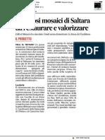 I preziosi mosaici di Saltara da restaurare e valorizzare - Il Corriere Adriatico del 2 febbraio 2019
