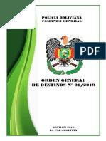 Orden General Destinos 2019
