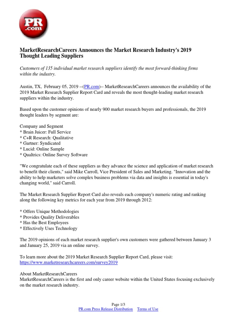 Having A Hard Time Focusing Research Identifies Complex Of >> Marketresearchcareers Announces The Market Research Industry S 2019