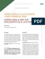 Gomez Davila y La Filosofía Como Forma de vida