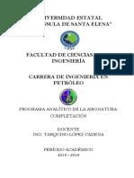 Formato Plan Analitico 2018-1 Completacion de Pozos