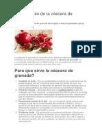 Propiedades de La Cáscara de Granada