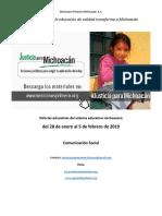 Síntesis Educativa Semanal de Michoacán al 5 de febrero de 2019