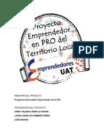 Proyecto ¨En pro del territorio local¨ PROGRAMA EMPRENDEDOR