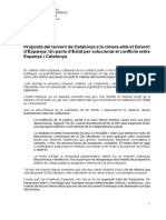 Propuesta del Govern a Pedro Sánchez