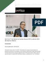 31-01-2019 - Del 14 al 17 de febrero la Cumbre Sonora 2019 y edición XXVI del Álamos Alliance - Dossierpolitico.com