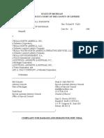 Michigan v. Veolia LAN Complaint  - Flint Water Crisis