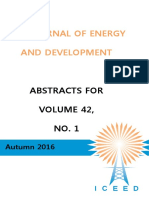 Abstracts for The Journal of Energy and Development volume 42, number 1, autumn 2016