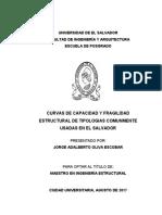 Curvas de Capacidad y Fragilidad Estructural de Tipologías Comunmente Usadas en El Salvador