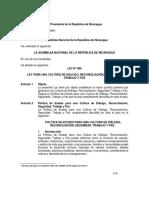 Ley No. 985 Ley Para Una Cultura de Diálogo, Reconciliación, Seguridad, Trabajo y Paz Final