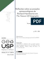 COSCIONI, Fernando J. Reflexões Sobre as Posições Epistemológicas de Richard Hartshorne Em the Nature of Geography