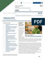 Vitamina B12 — Datos en Español