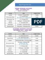 Academic Sessions 2019-2020