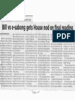 Philippine Star, Feb. 6, 2019, Bill vs e-sabong gets House nod on final reading.pdf