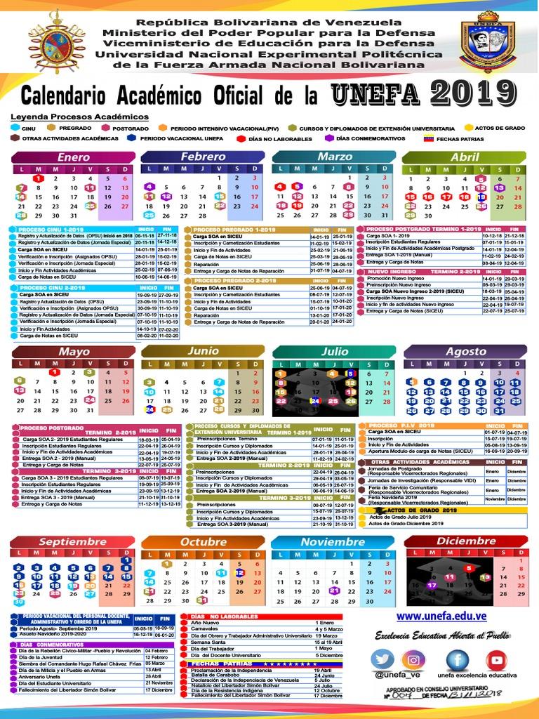 Calendario Academico 2020 16.Calendario 2019 Unefa Aprobadocuo 007 13 11 2018 Oficial