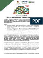 Convocatoria 2018 Curso Economía Social Solidaria