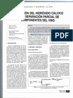 Utilización del hidróxido de calcio en la separación parcial de componentes del vino