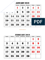 Printable Monthly 2019 Calendar Large Font