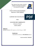 Rapport de Stage sur les analyses des carburants (NAFTAL)