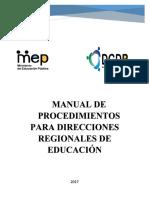 Manual de procedimientos para direcciones regionales del MEP CR