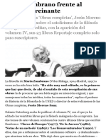 María Zambrano frente al nihilismo reinante