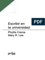 CREME Phyllis Y LEA Mary R - Escribir en La Universidad