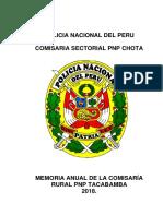 Memoria Anual de La Comisaria Rutal Tacabamba 2018