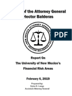 Report on UNM Financial Risk Areas