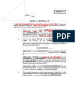 t2 - Form No. 5 - Secretary's Certificate