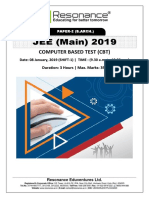 JEE Main 2019 Paper 2 B.Arch Attempt Shift - 1(08th January, 2019)