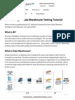 ETL Testing or Data Warehouse Testing Tutorial