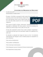 Declaració institucional del President del Parlament de Catalunya
