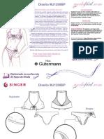 Instrucciones Del Patrón de Costura de Traje de Baño Bikini MJ1208bp