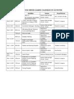 2019 CHG Calendar of Activities