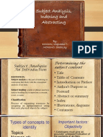 Subject Analysis, Indexing and Abstracting