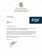 Carta de condolencias del presidente Danilo Medina a Adamilka Fabián por fallecimiento de su hermano Andrés Fabián Medina