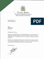 Carta de felicitación del presidente Danilo Medina a Ángel Ovalles por su designación como gerente general de las Águilas Cibaeñas