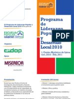 Programa de Formación Liderazgo Popular para el Desarrollo Local 2010 - Díptico