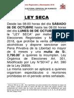 Comunicado Ley Seca ELECCIONES 2018