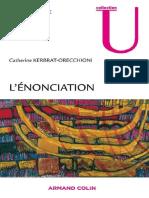 L'énonciation - Catherine Kerbrat-Orecchioni