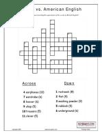 British vs American Word Equivalents Crosswords