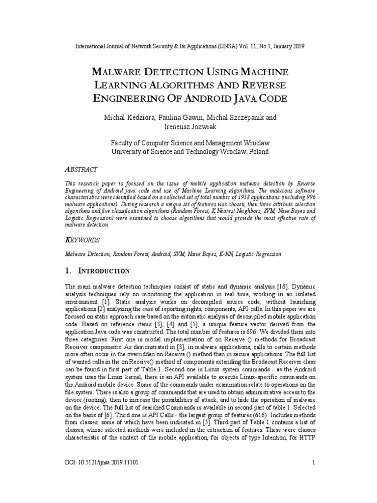 MALWARE DETECTION USING MACHINE LEARNING ALGORITHMS AND
