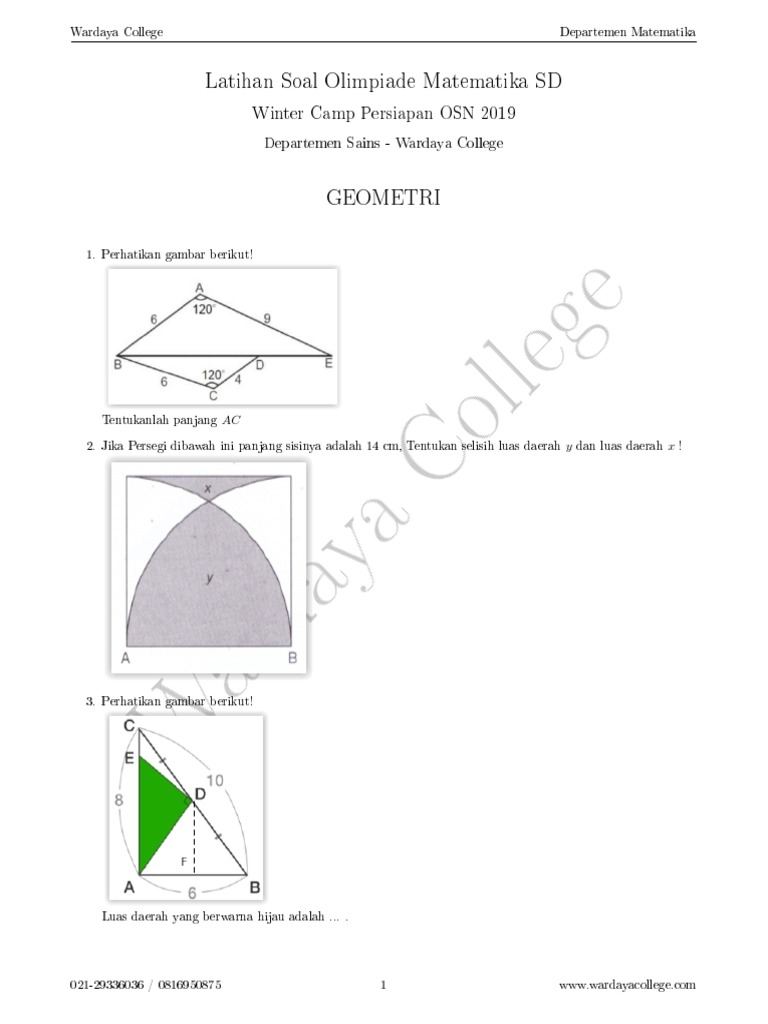 2018 12 Latihan Soal Olimpiade Sd Matematika Geometri