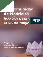 Documento con las primeras medidas de Podemos Madrid para las elecciones autonómicas