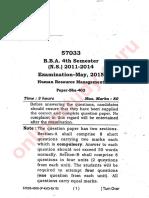 Humuan Resource Managment 2015 Bba Mdu 4th Sem