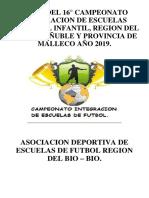 Bases Campeonato Integracion de Escuelas de Futbol Año 2019