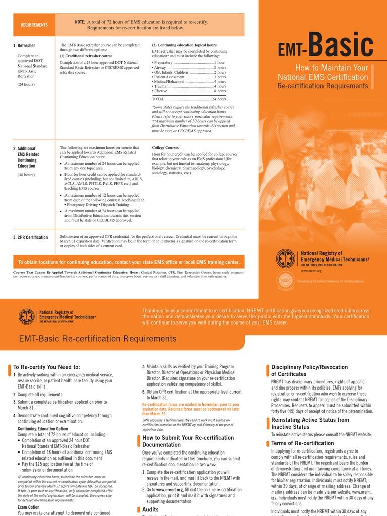 Emt B Recert Brochure Emergency Medical Services Emergency