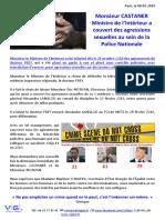 08 02 2019 Monsieur CASTANER Ministre de LIntrieur a Couvert Des Agressions Sexuelles Au Sein de La Police Nationale