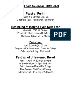 2019-2020 Feast Days Even Holy Convocations | Passover