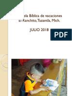 Escuela Biblica de vacaciones Verano 2018
